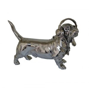Silver Electroplated Sausage Dog with Headphones & Glasses Ornament