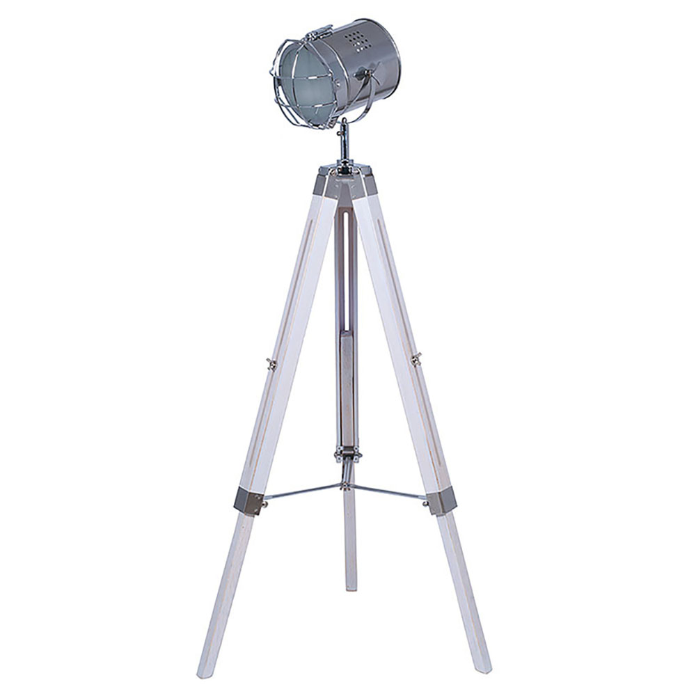White Wash Tri Pod Floor Lamp with Chrome Detail