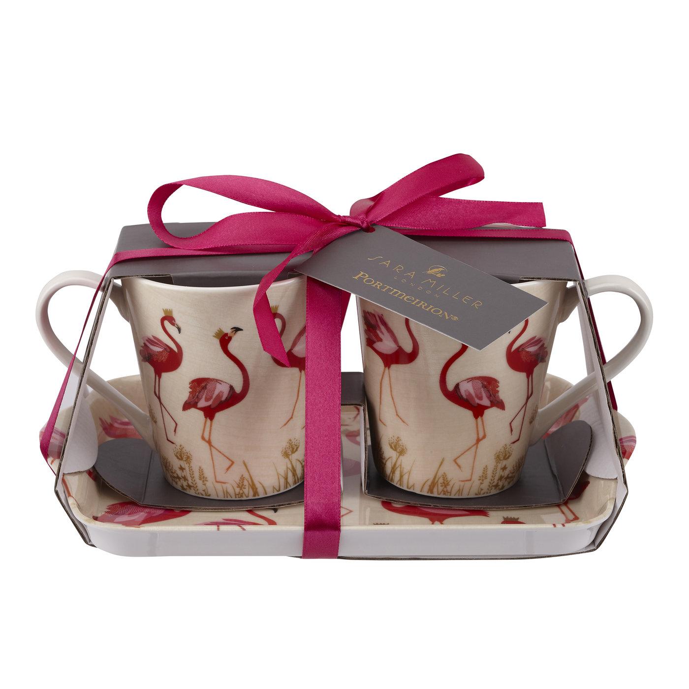 Sara Miller London Portmeirion The Flamingo Mug and Tray Set