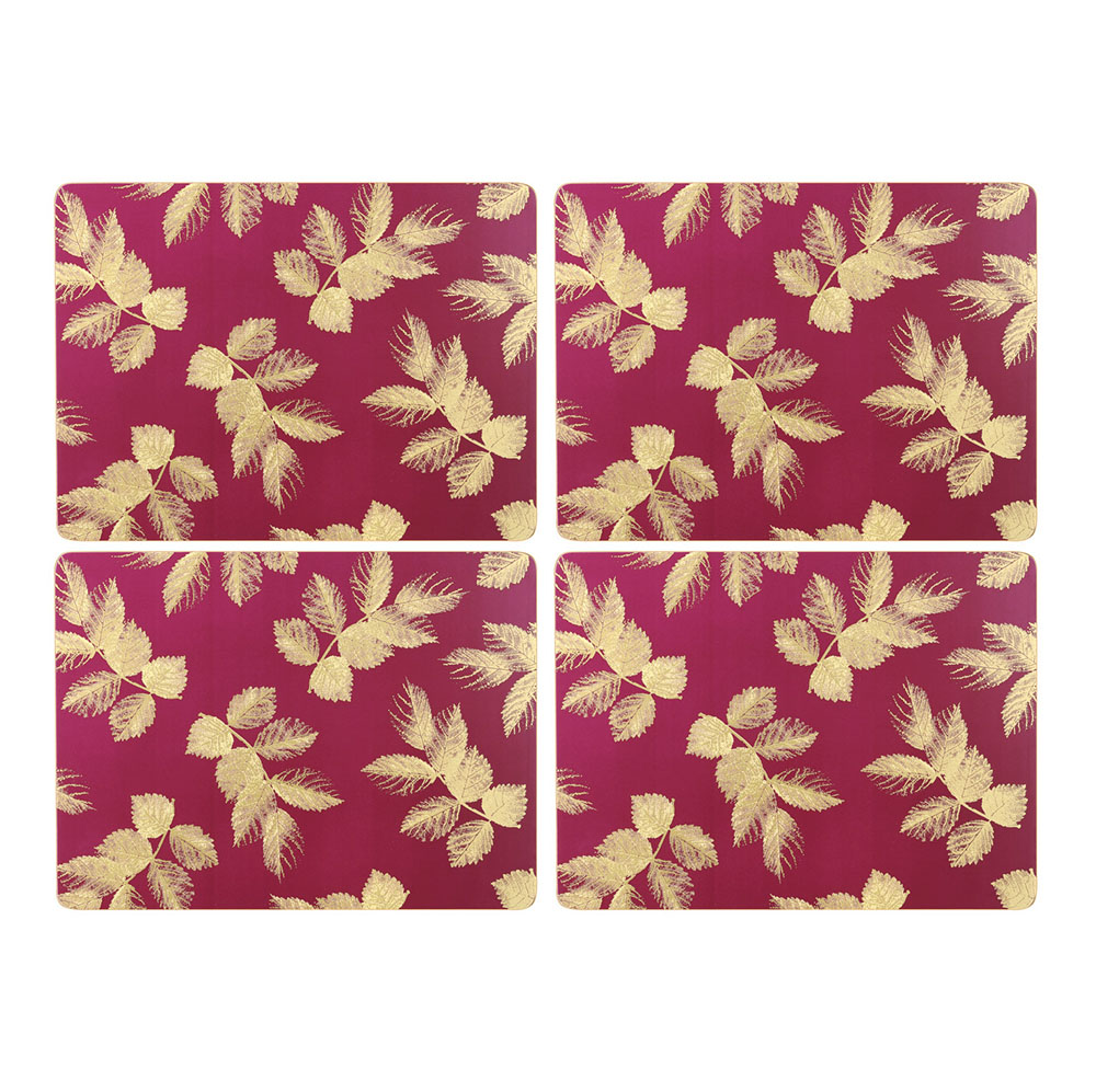 Sara Miller London Portmeirion Etched Leaves Placemats Set of 4 Pink
