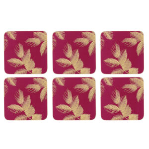 Sara Miller London Portmeirion Etched Leaves Coasters Set of 6 Pink