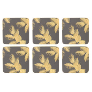 Sara Miller London Portmeirion Etched Leaves Coasters Set of 6 Dark Grey