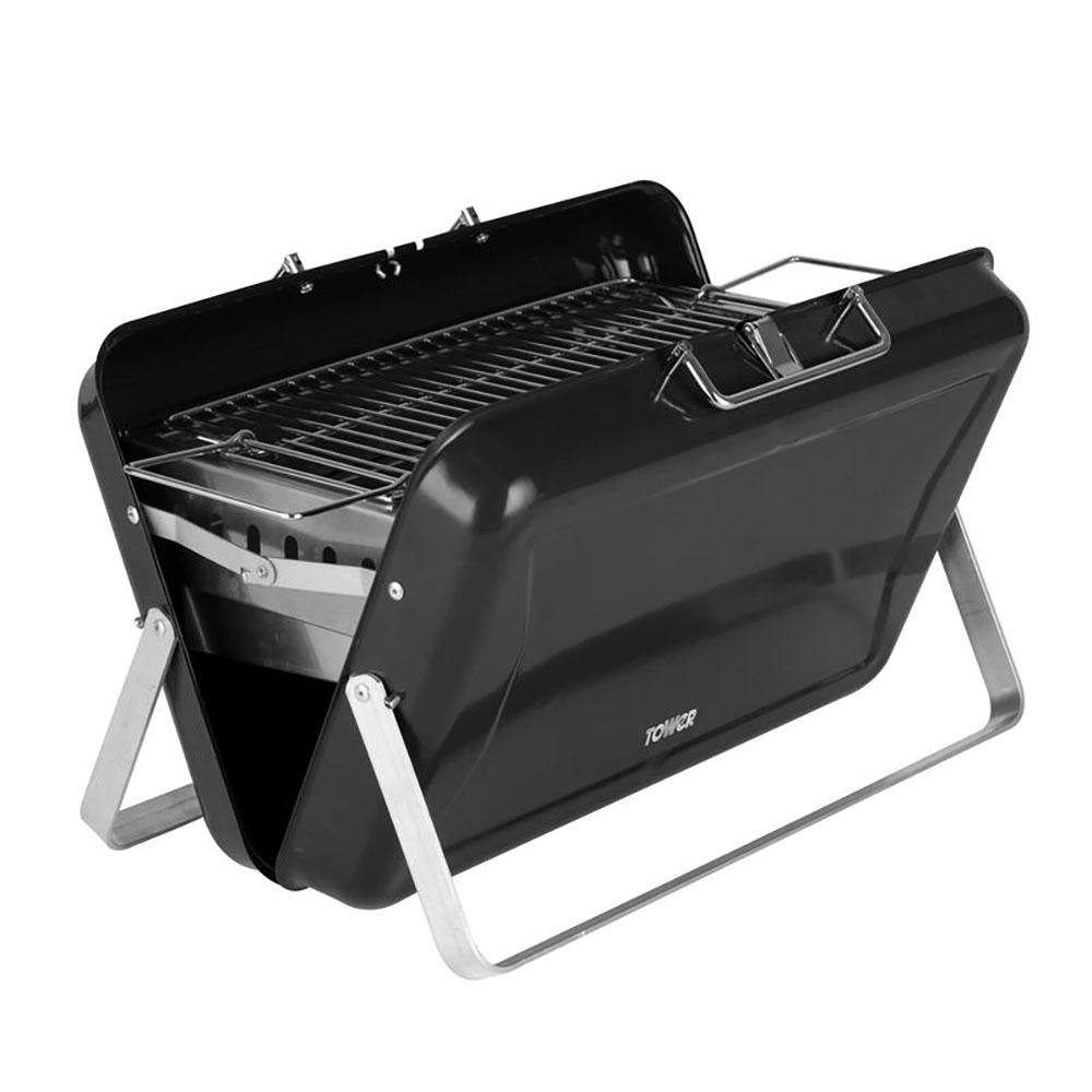 Tower Portable Briefcase BBQ Stealth Black