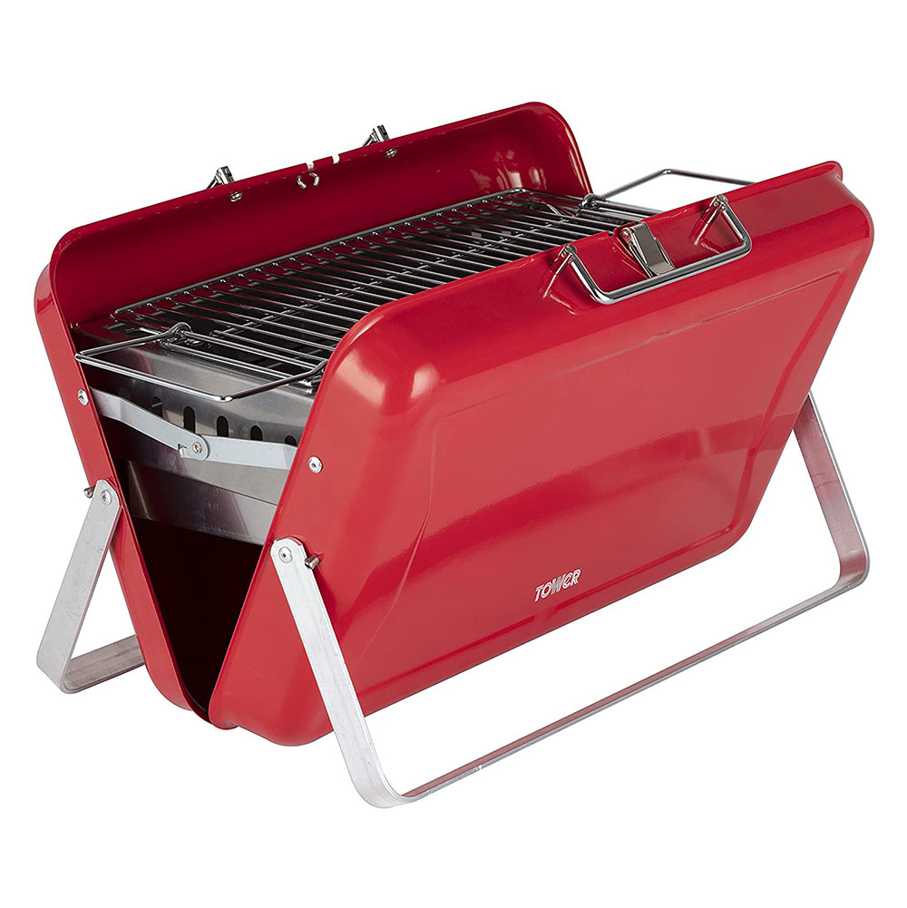 Tower Portable Briefcase BBQ Stealth Red
