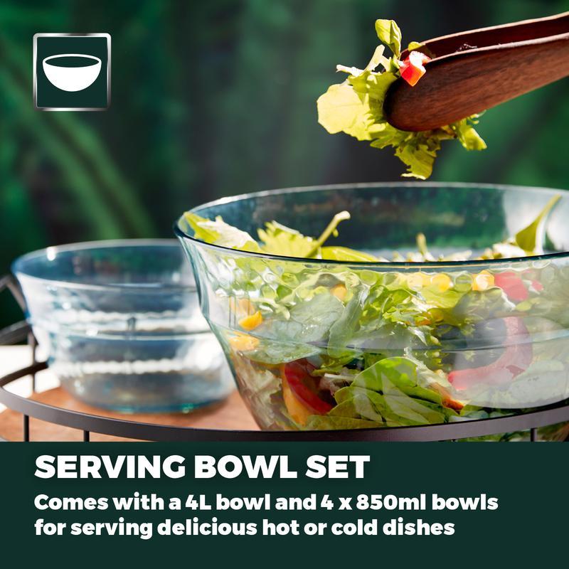 Fresco Reusable Plastic Serving Bowls 5 Piece Set