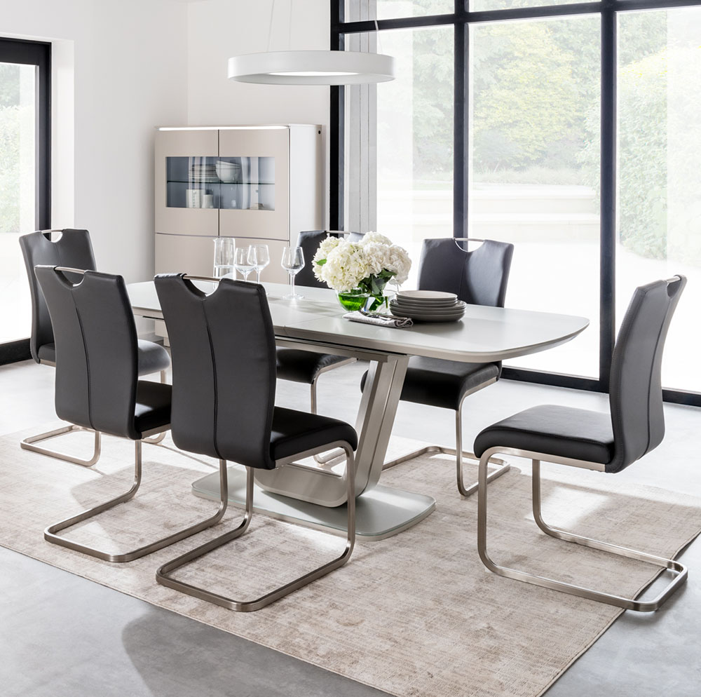 Lazio 160cm Table in Grey with 6 Grey Chairs Set