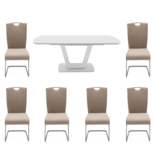 Lazio 160cm Table in White with 6 Taupe Chairs Set