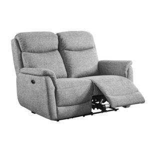 Kayden Electric 2 Seater Recliner - Fabric Grey