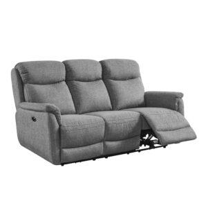 Kayden Electric 3 Seater Recliner - Fabric Grey