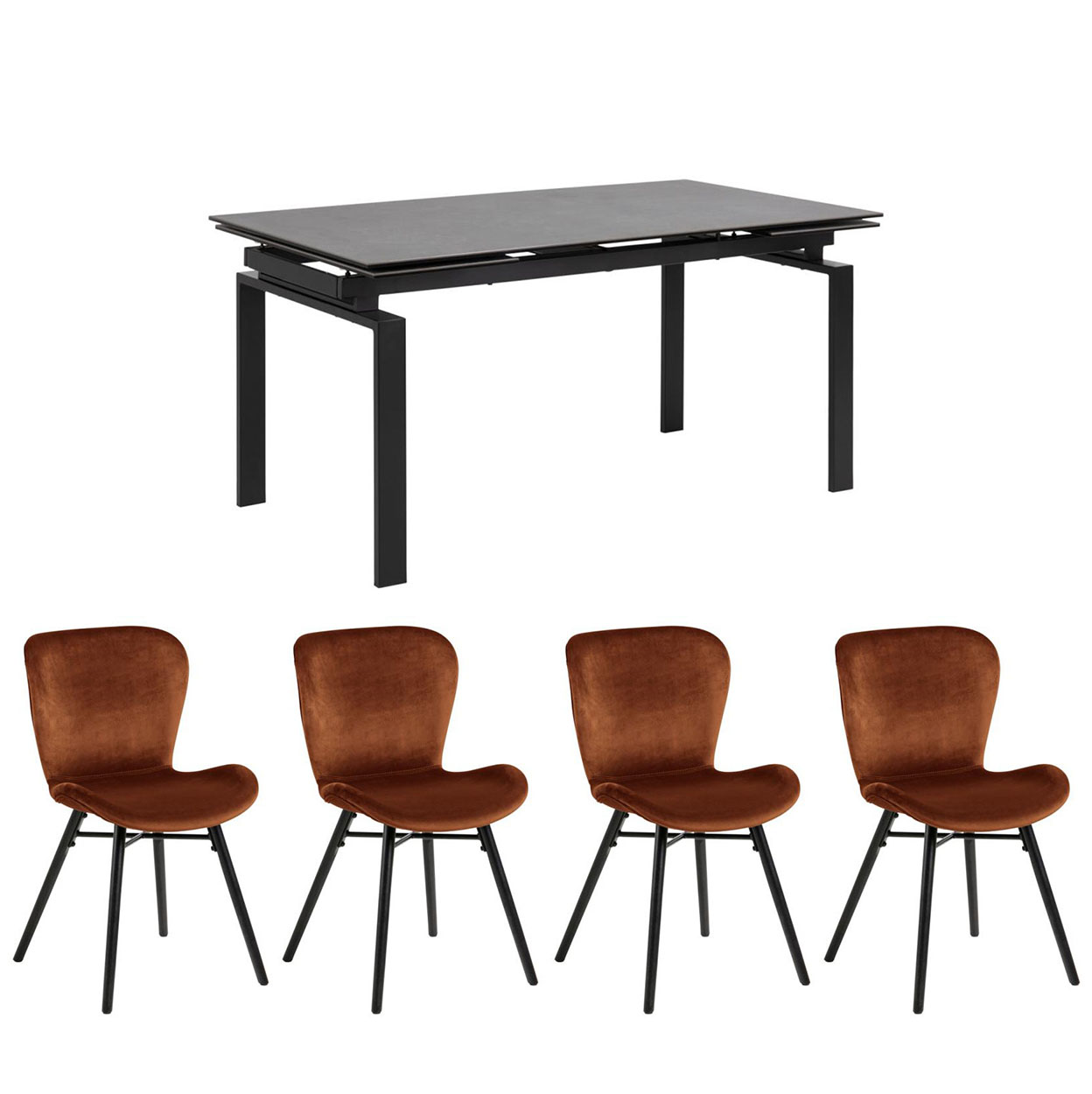 Hamlet Table & 4 Bronte Copper Chairs Set