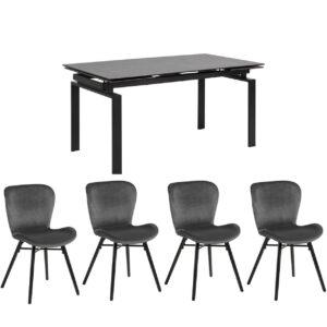 Hamlet Table & 4 Bronte Grey Chairs Set