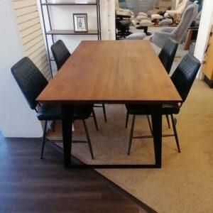 Hackney 180cm Table & 4 Dalton Blue Set