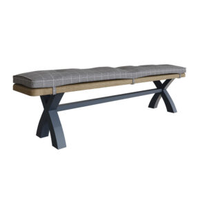 Heritage Blue 2.0m Bench Grey Check Cushion Only