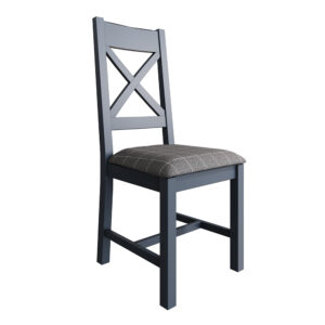 Heritage Blue Cross Back Dining Chair Grey Check