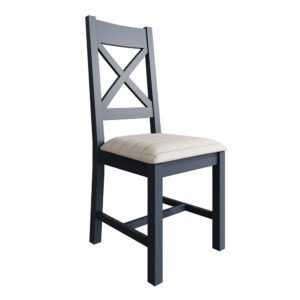 Heritage Blue Cross Back Dining Chair Natural Check