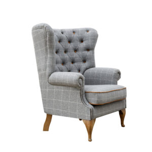 Button Back Wing Chair - Grey