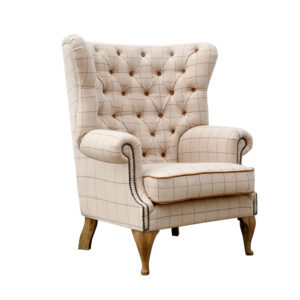 Button Back Wing Chair - Natural