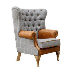 Button Back Wing Chair - Grey & Tan Arms