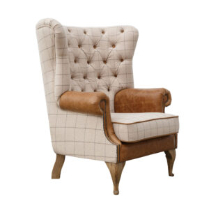 Button Back Wing Chair - Natural & Tan Arms