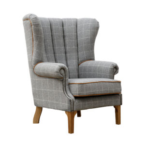 Fluted Wing Chair - Grey