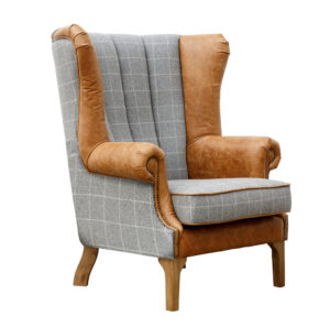 Fluted Wing Chair - Grey & Tan Arms