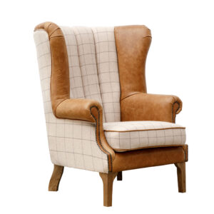 Fluted Wing Chair - Natural & Tan Arms