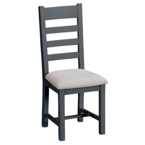 Henley Charcoal Ladder Back Chair Fabric Seat