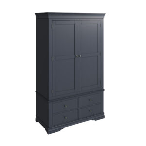 Croft Midnight Grey Double Wardrobe with 4 Drawers