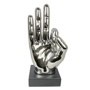 Silver Ceramic Okay Hand Sign Ornament