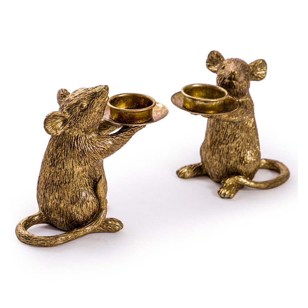 Gold Mouse Candle Holders