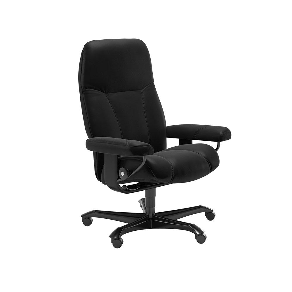 Stressless Consul Medium Office Chair Batick Black/Black Wood