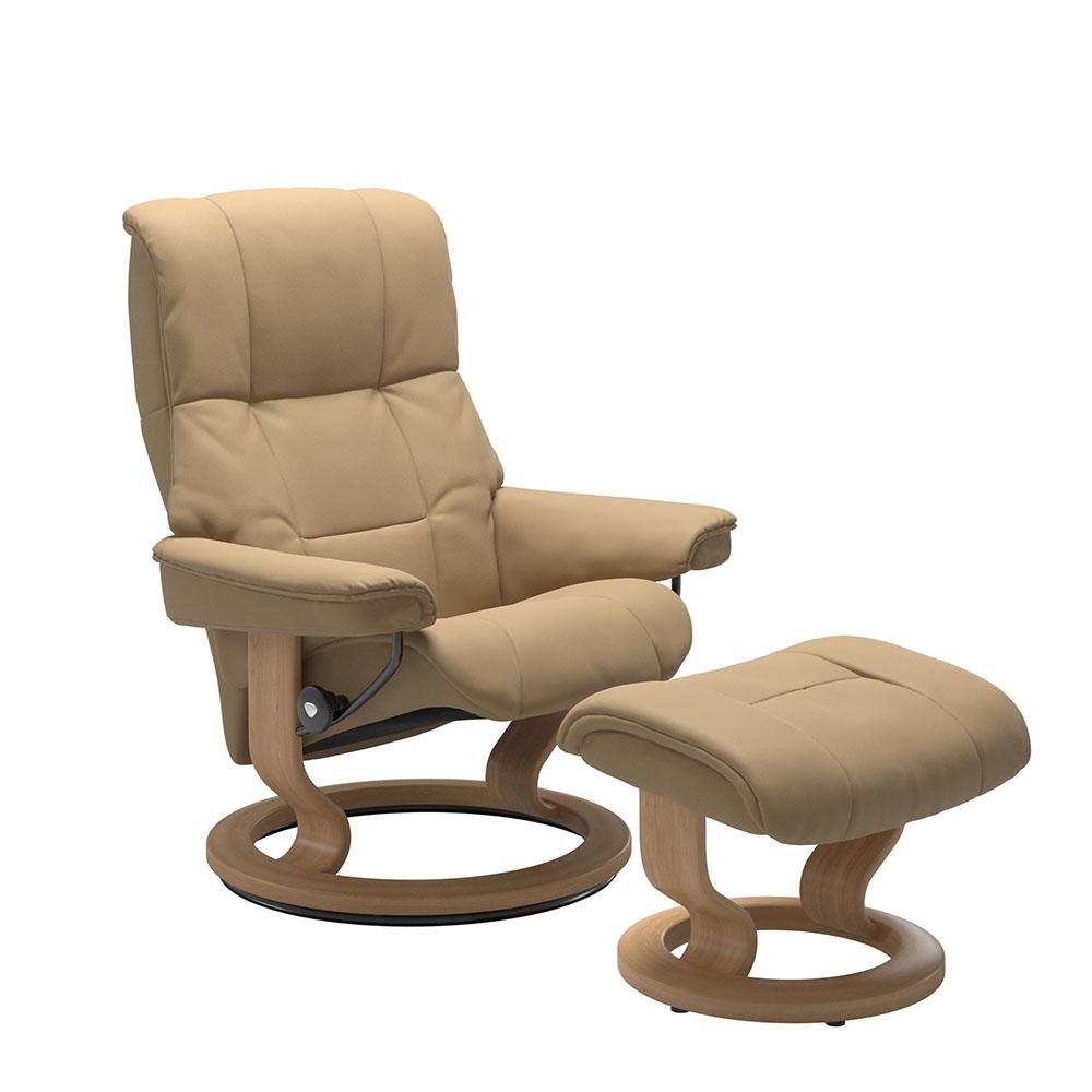 Stressless Mayfair M Classic Chair & Stool Paloma Sand/Oak