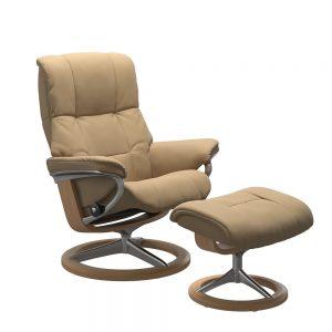 Stressless Mayfair M Signature Chair & Stool Paloma Sand/Oak