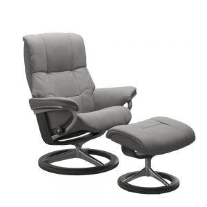 Stressless Mayfair M Signature Chair & Stool Paloma Silver Grey/Grey