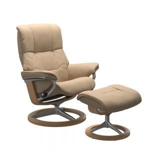Stressless Mayfair M Signature Chair & Stool Paloma Beige/Oak