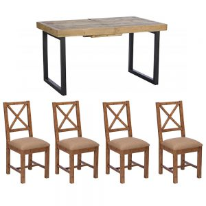 Lincoln 140cm Extending Table & 4 Upholstered Dining Chairs Set
