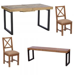 Lincoln 140cm Table & 2 Upholstered Dining Chairs & 140cm Bench