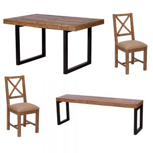 Lincoln 140-180cm Fixed Leg Ext Table & 2 Upholstered Chairs & 140cm Bench