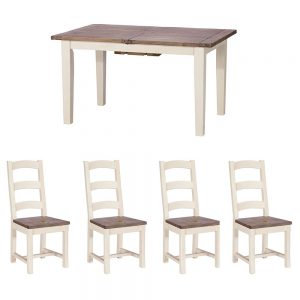 West Bay 140cm Table and x4 Wooden Chairs Dining Set