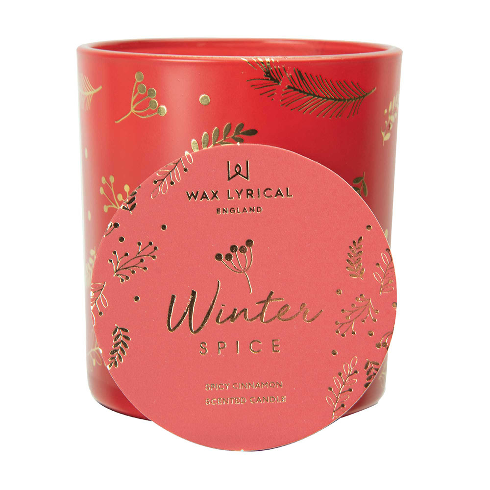 Wax Lyrical Winter Spice Printed Glass Candle