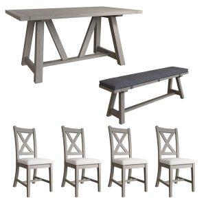 Farmhouse 1.6m Table + x4 Cross Back Chairs + 1.6m Bench + Bench Cushion