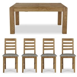 Brooklyn Extending Table and x4 Dining Chairs Set