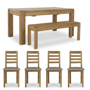 Brooklyn Extending Table + x4 Dining Chairs + Bench Set