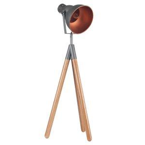 Grey Metal and Natural Wood Tripod Film Table Lamp