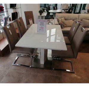 Samara Table & 4 Riga Taupe Chairs Set